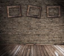 Free Old Grunge Interior With Blank Frames Royalty Free Stock Photography - 10296587
