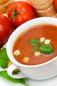 Free Tomato Soup In White Bowl Stock Photo - 10297230