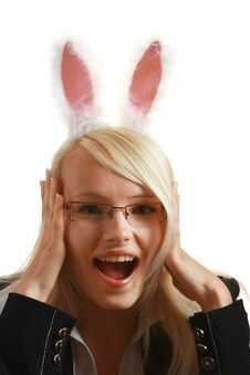Free A Young Attractive Business Woman With Bunny Ears Royalty Free Stock Photos - 10297678