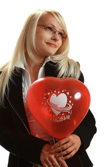 Free A Young Attractive Woman With Red Balloon Stock Photos - 10297803
