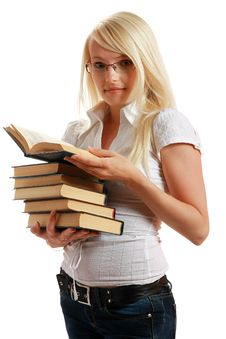 Free Young Girl Leaned Over Pile Of Books Royalty Free Stock Photos - 10297808