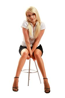 Free A Young Attractive Woman Sitting On Stool Stock Photos - 10297813