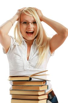 Free Young Girl Leaned Over Pile Of Books Royalty Free Stock Image - 10297846