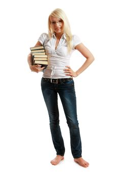 Young Woman Picking Out Several Books For Reading Stock Photos