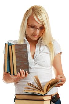 Free Young Girl Leaned Over Pile Of Books Royalty Free Stock Photo - 10297895