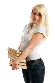 Free Young Girl Leaned Over Pile Of Books Stock Photography - 10297902