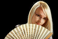 A Young Attractive Woman With Fan Royalty Free Stock Photos