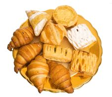 The Plate With Croissants Stock Photography