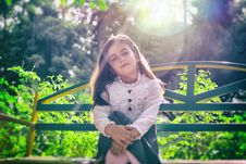 Free Beautiful, Girl, Bench, Blur Royalty Free Stock Image - 102998346