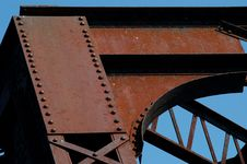 Train Bridge On Riviere Des Mille Iles, Canada (detail) Royalty Free Stock Images