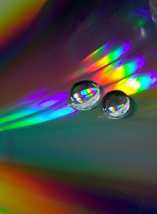 Free Drops On The Cd-disk Stock Image - 1031981
