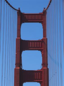 Free Golden Gate Bridge Tower, View From Roadway Stock Image - 1034851
