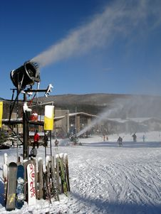 Snowmaking Machines In Action Stock Images
