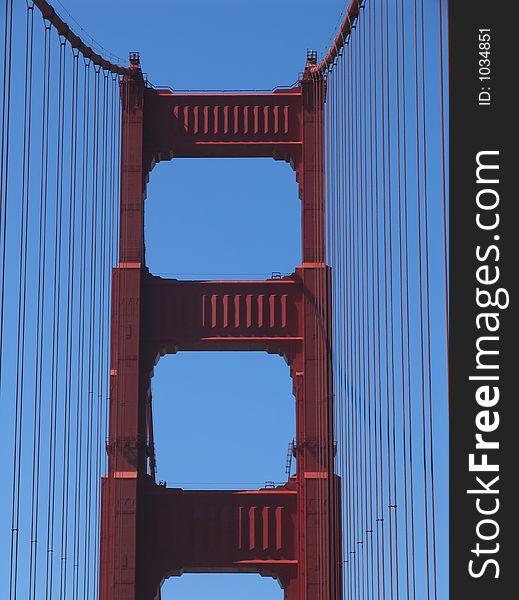 Golden Gate Bridge Tower, View From Roadway
