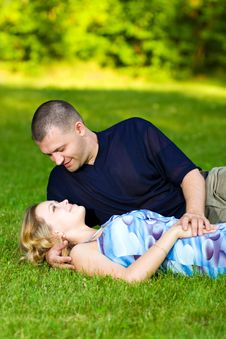 Free Attractive Couple Together On Meadow Royalty Free Stock Photo - 10300065