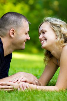 Free Attractive Couple Together On Meadow Royalty Free Stock Images - 10300129