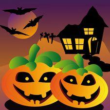 Evil Halloween Pumpkin Stock Photo