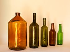 Row Of Glass Bottles Royalty Free Stock Photos