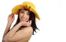 Free Beautiful Sexy Woman In Yellow Hat And Bikini Stock Photo - 10301480
