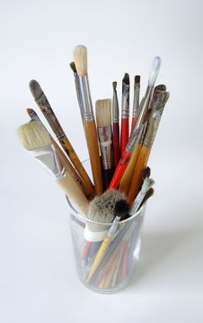 Paint Brushes In Glass Container Stock Photo