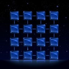 Crystal Lattice Over Space View Royalty Free Stock Images