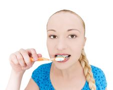 Free Girl Brushing Teeth Stock Photo - 10302060