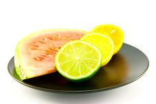 Watermelon With Slice Of Lemon, Lime And Orange Stock Images