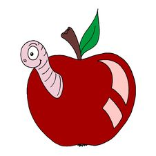 Free Worm Eating An Apple Stock Images - 10302984