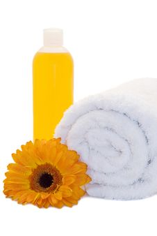 Bath Items With Gerbera Flower Stock Photography