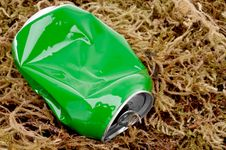 Free A Crushed Green Aluminum Drink Can On Moss Royalty Free Stock Images - 10305199