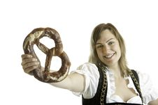 Free Bavarian Girl Holds Oktoberfest Pretzel Royalty Free Stock Photography - 10306257