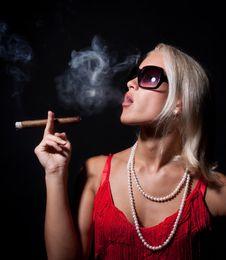 Portrait Of Elegant Smoking Woman. Royalty Free Stock Photography