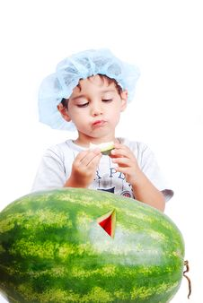 Free Cute Kid Eating Water Melon Royalty Free Stock Photo - 10308805