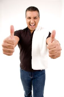 Happy Male Showing Thumbs Up Royalty Free Stock Photos