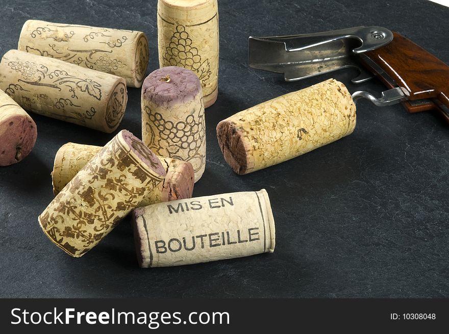 Corks and wine opener