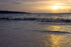 Sunset In Jimbaran Beach, Bali Island Stock Photography