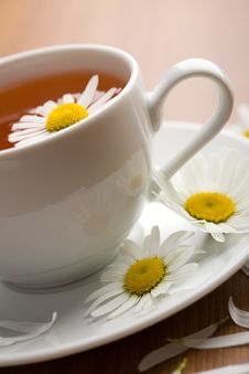 Free Cup Of Herbal Tea And Chamomile Flowers Stock Images - 10311214