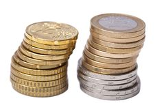 Free Two Stacks Of Coins Isolated Stock Images - 10312104
