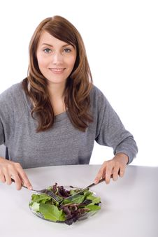 Free Woman Eating A Salad Stock Photography - 10314102