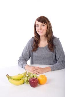 Woman Fruit Stock Photo