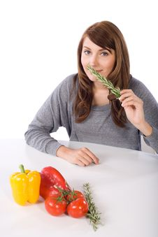Woman Smell Herb Stock Images