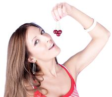 Free Attractive Woman Holding Cherry Royalty Free Stock Photo - 10314725