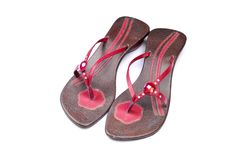 Footwear With Colored Straps Royalty Free Stock Photos
