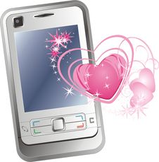 Free Mobile Telephone And Hearts Royalty Free Stock Photography - 10315387