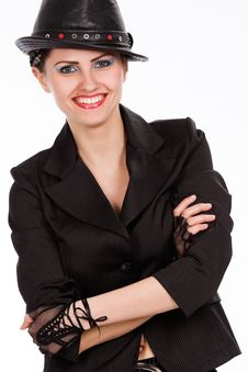 Free Young Fashionable Model With Black Hat Stock Image - 10317451
