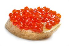 Red Caviar Open Sandwich Royalty Free Stock Image