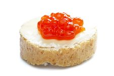 Red Caviar Open Sandwich Stock Photo