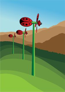Ladybug Windmill Stock Photography