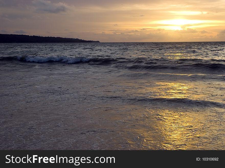 Sunset in Jimbaran beach, Bali Island
