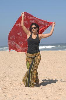 Free Beautiful Brunette On The Beach Stock Image - 10320771